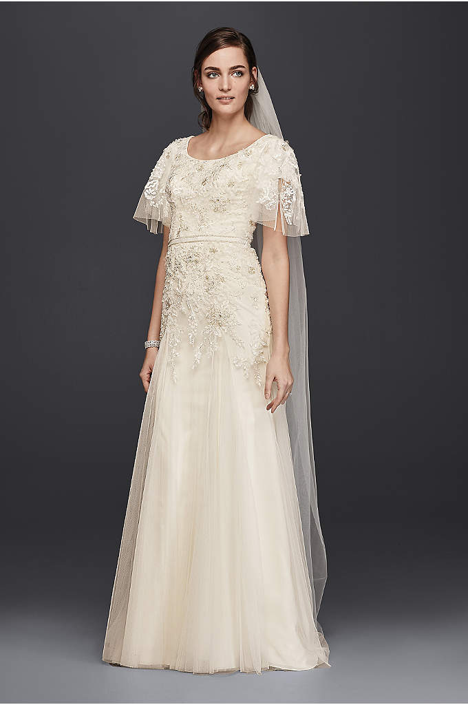 Melissa SweetModest A-Line Wedding Dress - Won't it be lovely to gracefully float down