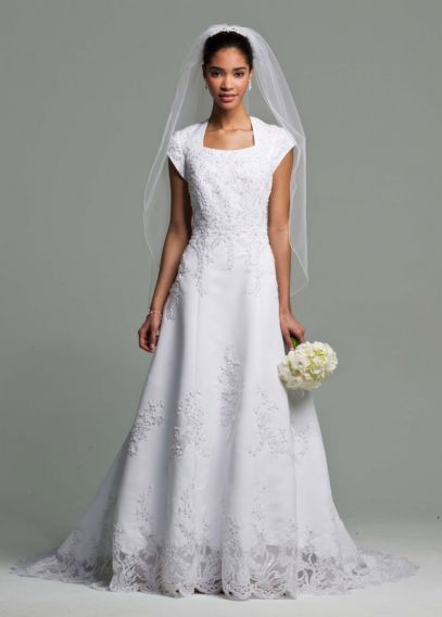 Short Sleeve Satin Wedding Dress Beaded Lace - Davids Bridal