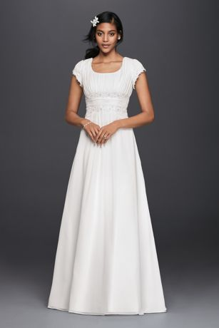 Long A Line Simple Wedding Dress   Davidu0027s Bridal Collection