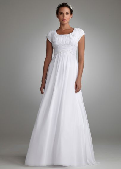 Short Sleeved Chiffon Soft A Line Wedding Dress SLV9743