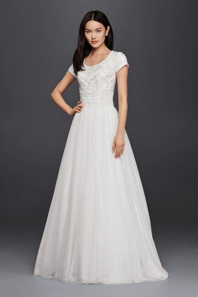 Modest Short Sleeve A-Line Wedding Dress | David's Bridal