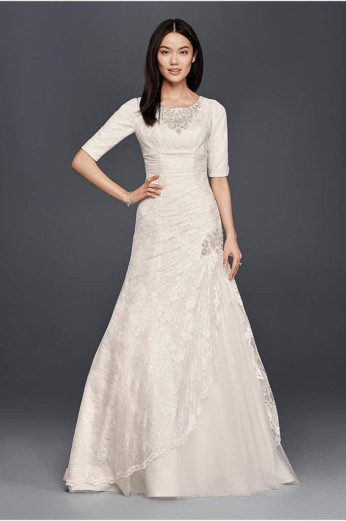 Beaded Trumpet Wedding Dress with 3/4 Sleeves