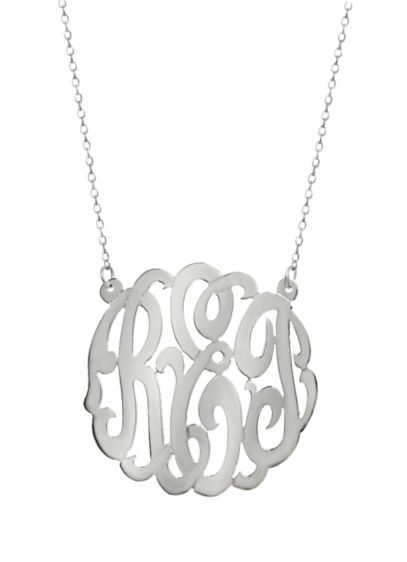 Personalized Sterling Silver Monogram Necklace - Wedding Gifts & Decorations