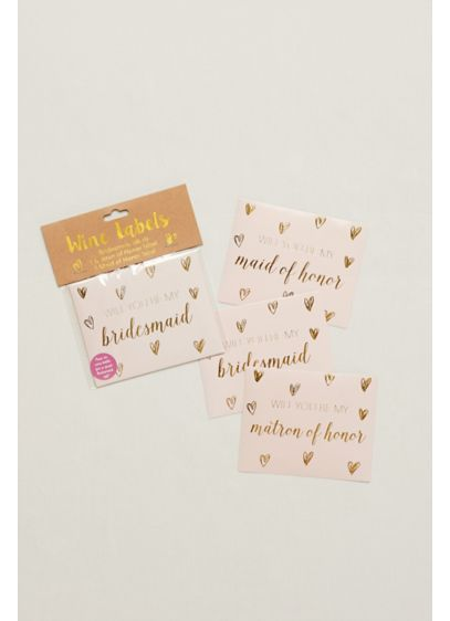 Pink (Will You Be My Bridesmaid Wine Labels Set of 10)