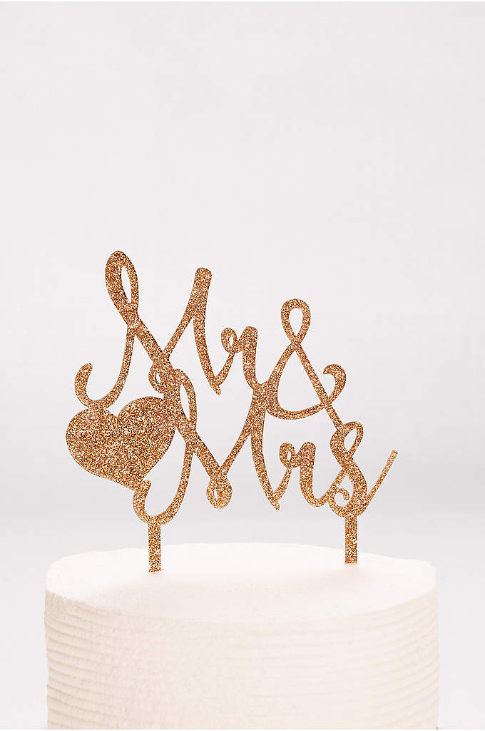 Mr and Mrs Glitter Cake Topper - Glittery script letters spell out Mr. & Mrs.