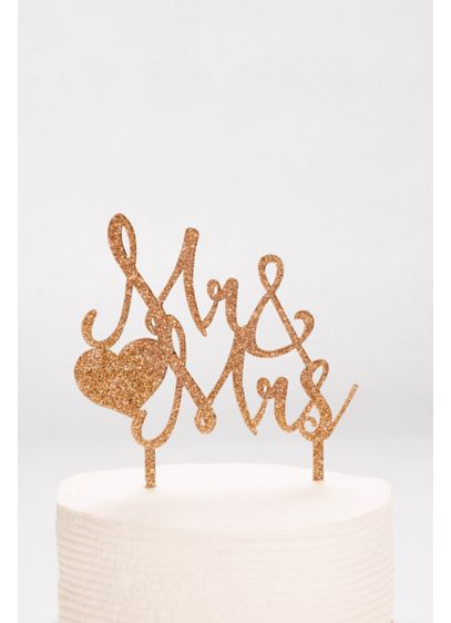 Mr and Mrs Glitter Cake Topper - Wedding Gifts & Decorations