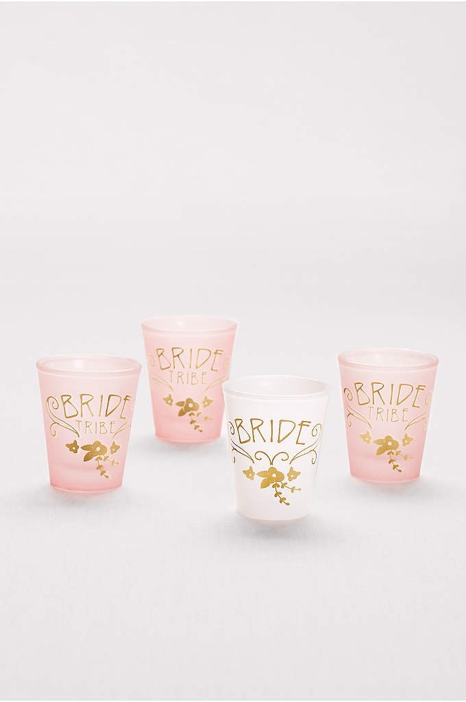 Bride and Bride Tribe Shot Glass Set - These frosted shot glasses are a must-have for