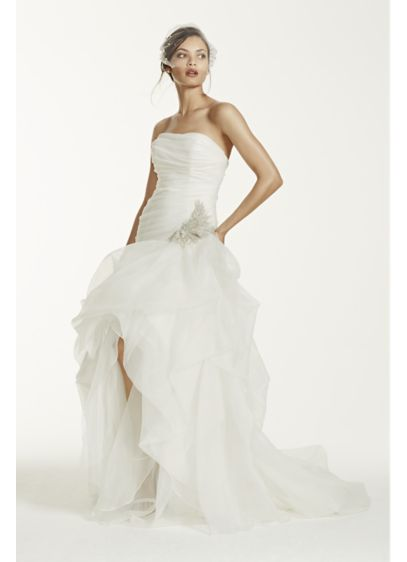 Organza and tulle high low gown with beaded flower for Tulle high low wedding dress