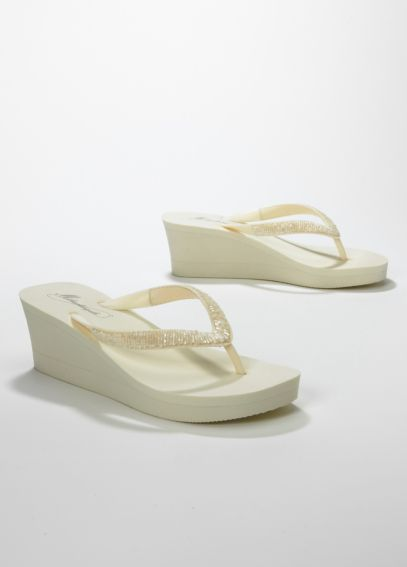 Beaded Bridal Wedge Flip Flop SPRINKLE