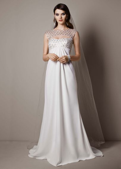 Cap Sleeve Crepe Sheath Gown with Beaded Bodice | David's Bridal