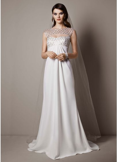 Cap sleeve crepe sheath gown with beaded bodice david 39 s for Cap sleeve sheath wedding dress