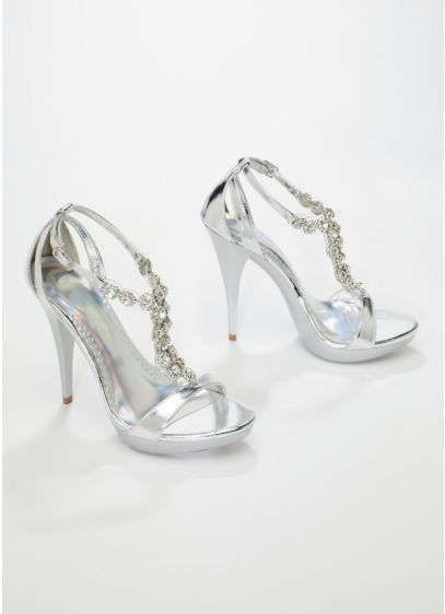 Michaelangelo Grey (Metallic High Heel Sandal with Crystal Accents)