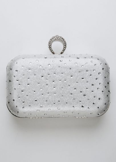 Scattered Crystal Ring Clasp Minaudiere Handbag STARDUST