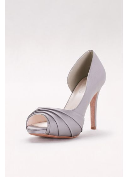 Grey (Satin Pleated  D'Orsay Platform Pumps)