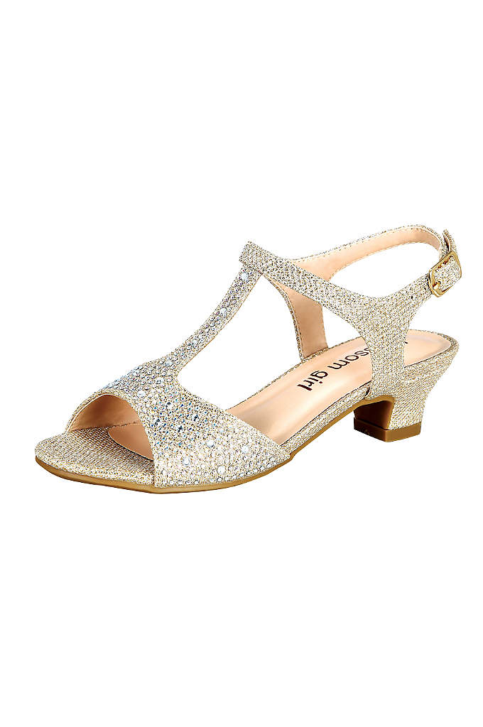 Glitter Girls' T-Strap Low Heel Sandal - These glittering T-strap sandals are a perfect choice
