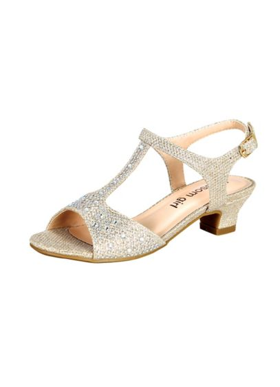 Blossom Yellow (Glitter Girls' T-Strap Low Heel Sandal)