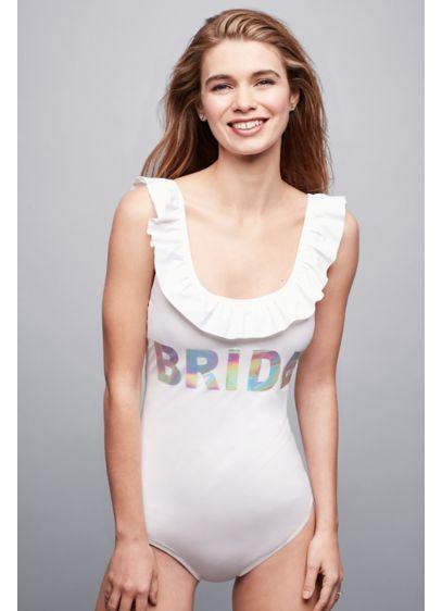 White (Bride Ruffled Hologram Swimsuit)