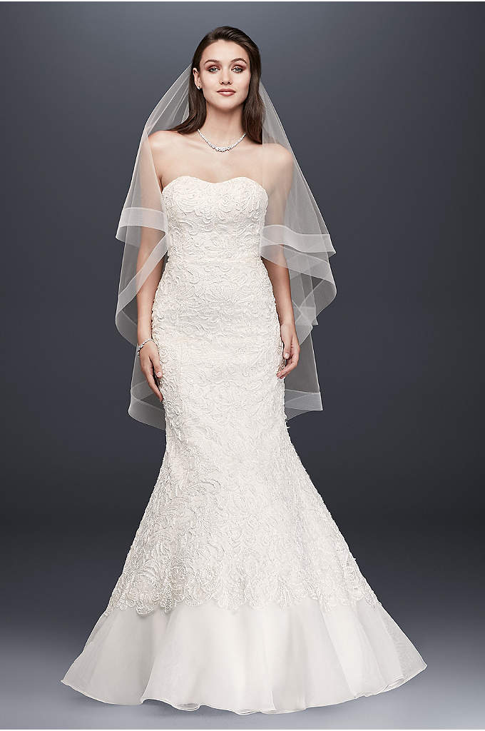 Lace Overlay Charmeuse Wedding Dress with Train - This lace-over-charmeuse trumpet gown exudes captivating glamour. Beaded