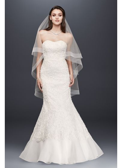 Lace overlay charmeuse wedding dress with train david 39 s for Lace wedding dress overlay