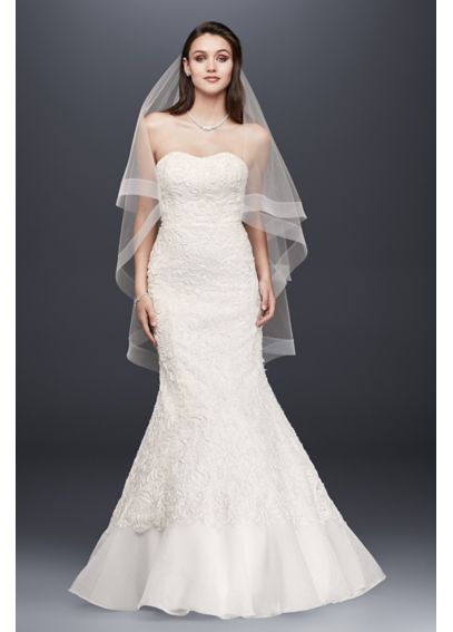 Lace Overlay Charmeuse Wedding Dress with Train SWG400