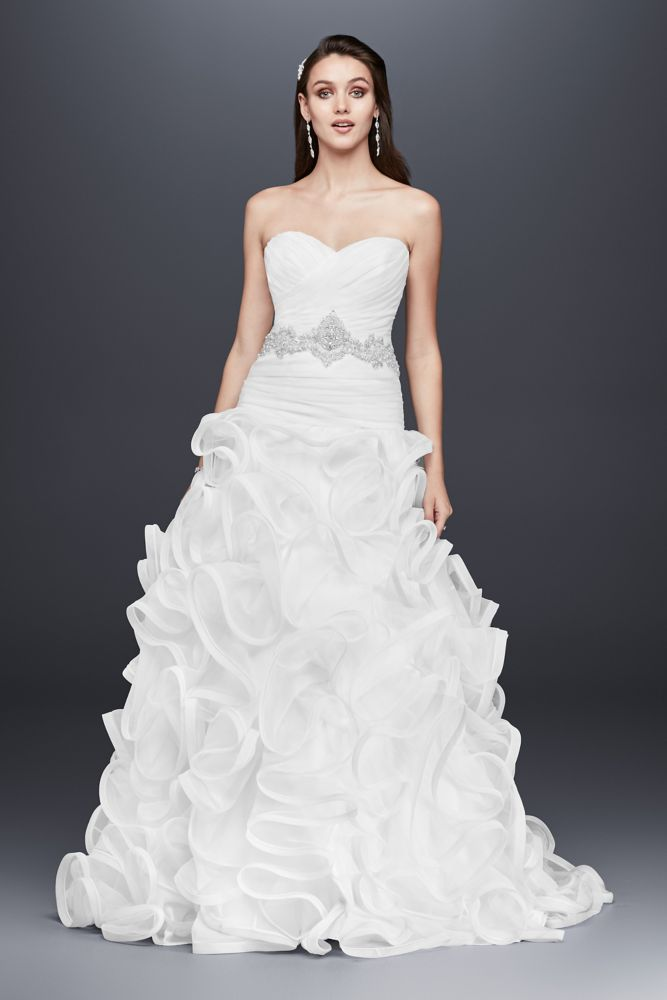 Ruffled skirt wedding dress with embellished waist style for Wedding dresses with ruffles