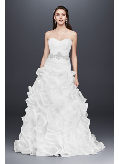 Ruffled skirt wedding gown with embellished waist david for Wedding dresses with ruffles