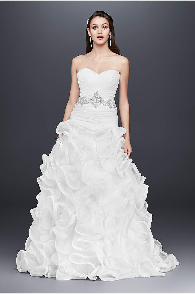 Ruffled Skirt Wedding Gown with Embellished Waist - Featuring a gracefully ruffled organza ball gown skirt