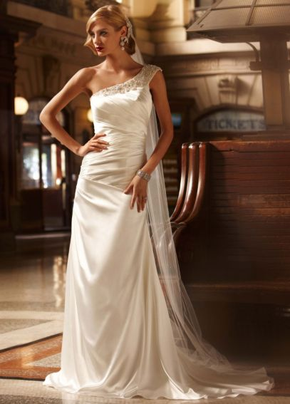 Soft Gown with Ruched Bodice and Embellished Strap SWG494