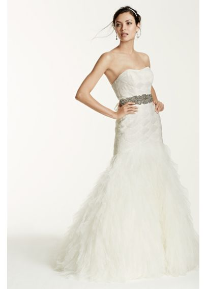 Gown with Basket Woven Bodice and Ruffled Skirt SWG523