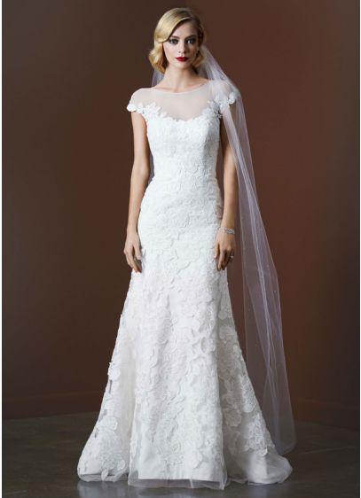 Trumpet Wedding Dress Tulle : Tulle trumpet wedding gown with illusion neckline davids
