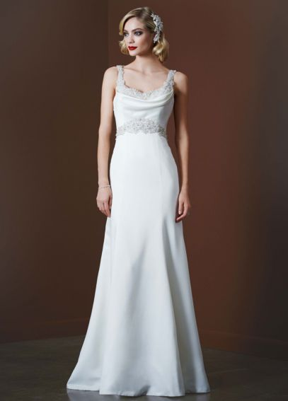 Satin Gown with Beaded Waist and Illusion Back SWG564
