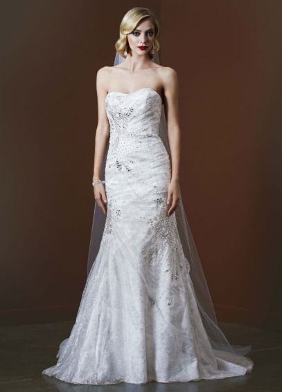 Metallic Lace Gown with Crystal Stone Detailing SWG574
