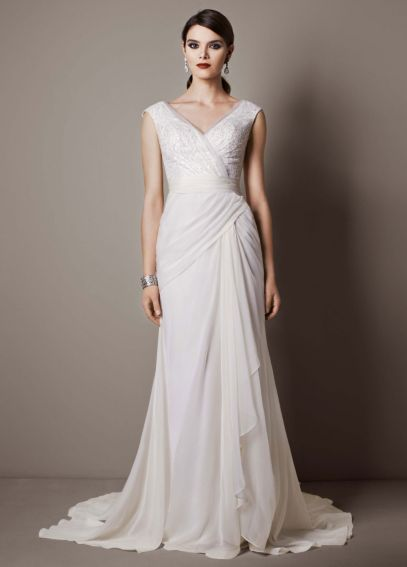 Chiffon Sheath Gown with Sequin Tulle Bodice SWG625