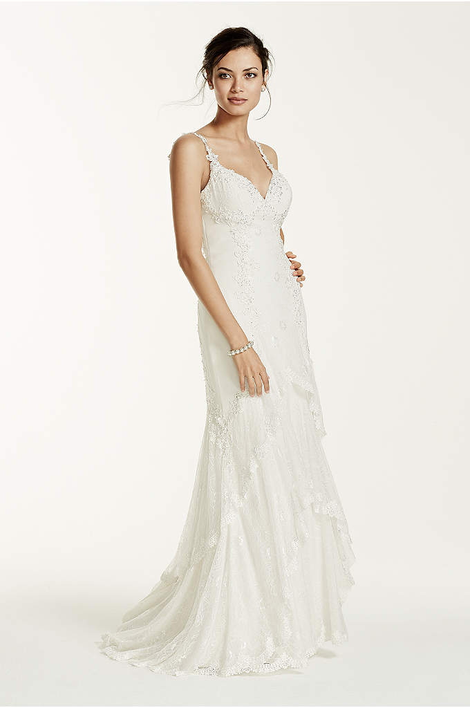 Chiffon Tank Sheath Gown with Illusion Back - Ideal for the bride to be, you will