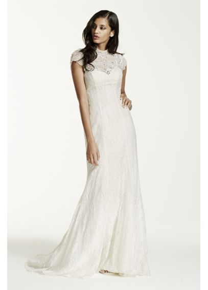 Lace Sheath Gown with Capelet Embellishment SWG648