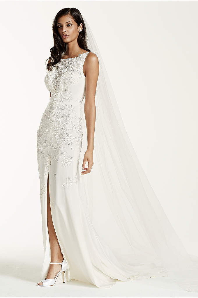 Crepe Sheath Gown with 3D Flowers and Front - Prepare to dazzle your guests in this breathtaking
