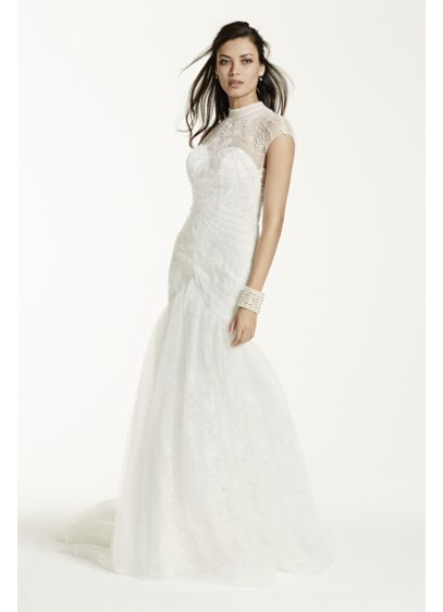 Tulle Over Lace Trumpet Gown with High Neckline | David\'s Bridal