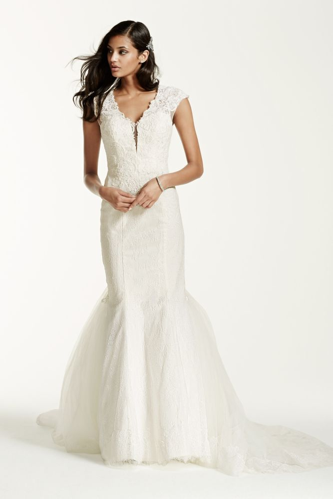 galina signature illusion deep plunge neckline lace With plunge wedding dress