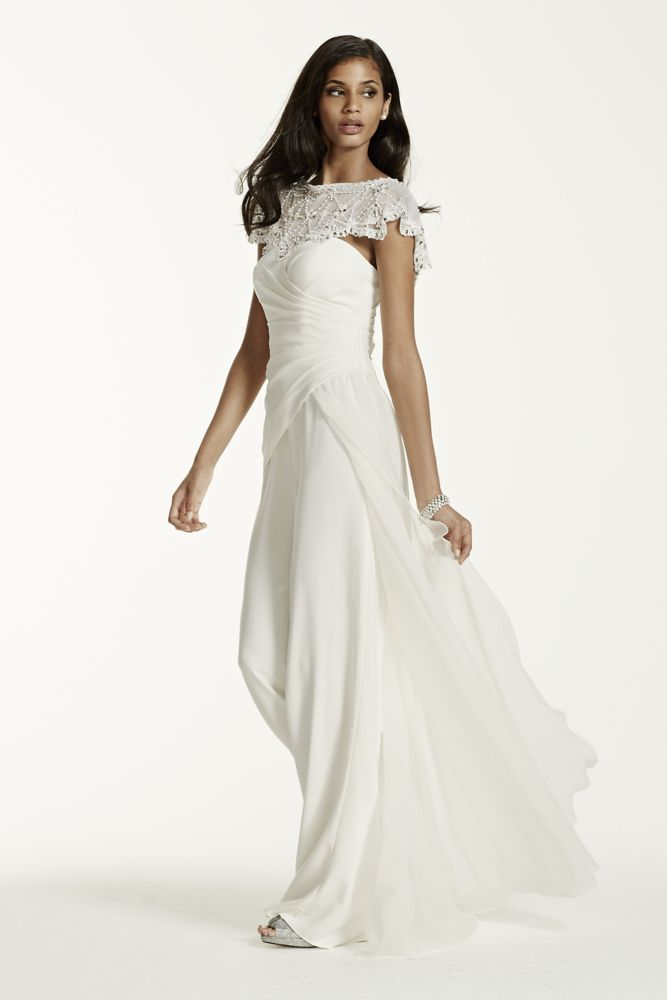 Wedding dress side draped crepe jumpsuit with beaded shawl for Side draped wedding dress