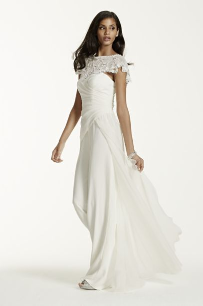 Side Draped Crepe Jumpsuit With Beaded Capelet Davids Bridal