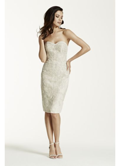 Short Sheath Vintage Wedding Dress - Galina Signature
