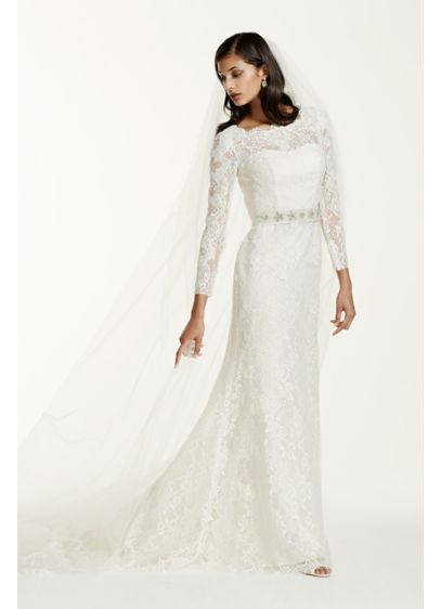 Long sleeve wedding dress with beaded lace davids bridal long sheath vintage wedding dress galina signature junglespirit Choice Image