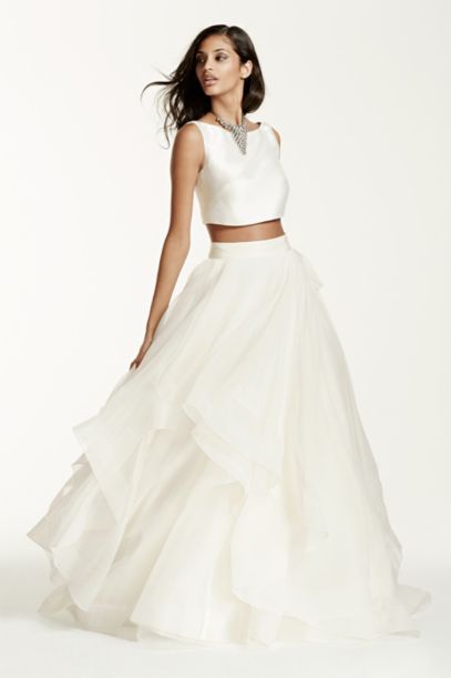 Two-Piece Mikado Crop Top Ball Gown | David's Bridal