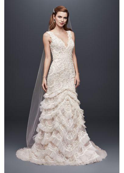 Beaded lace wedding dress with plunging neckline davids for Plunge neck wedding dress