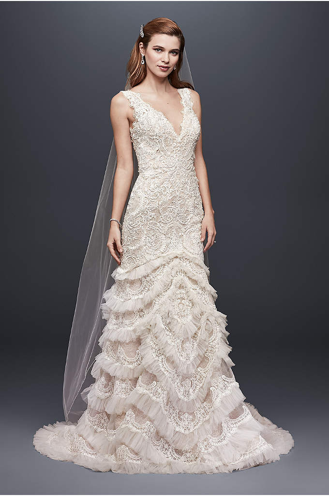 Beaded Lace Wedding Dress with Plunging Neckline - You'll feel utterly captivating in this dramatic, plunging-neckline