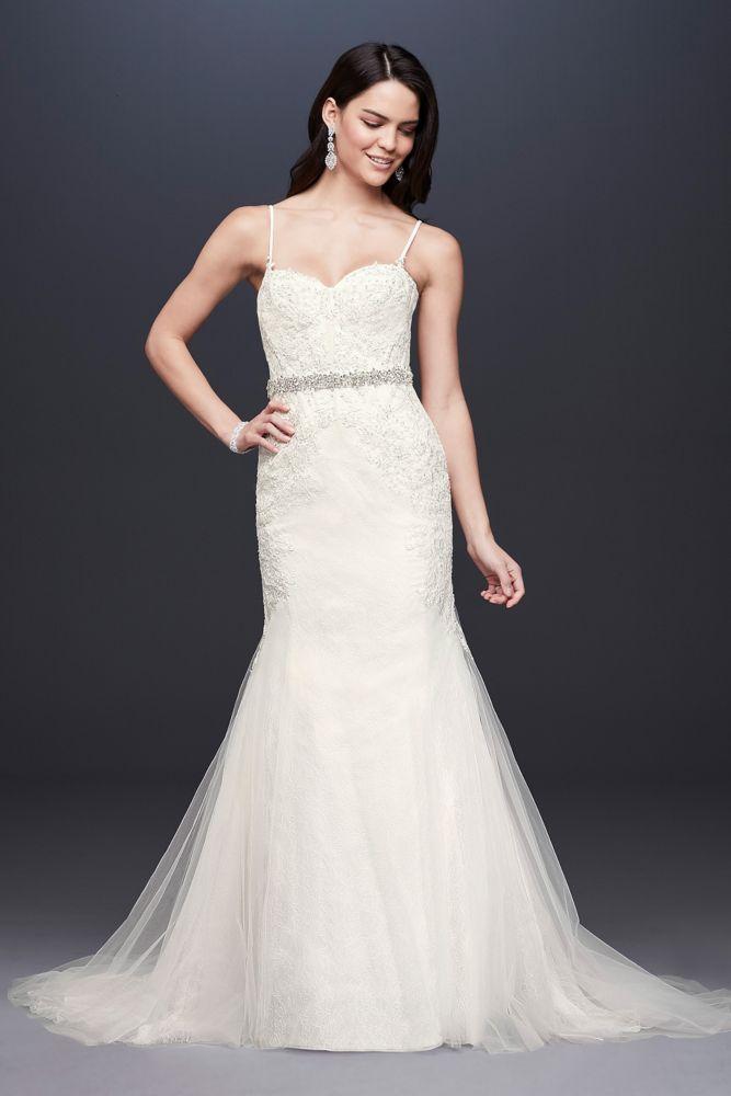 galina signature spaghetti strap trumpet wedding dress With corset bodice wedding dress