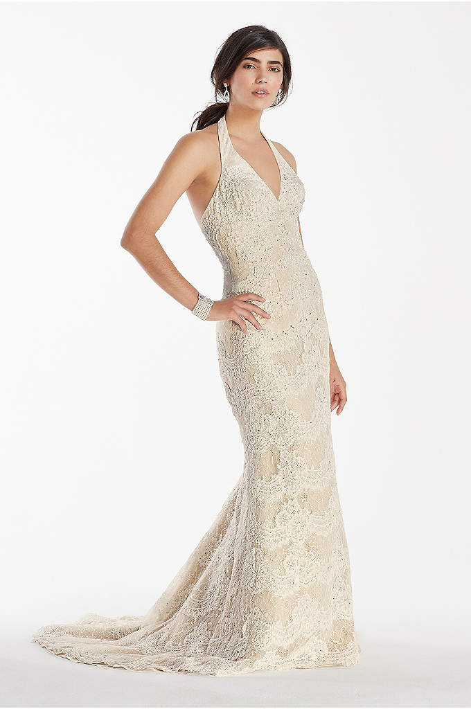 Scallop Beaded Lace Halter V-Neck Trumpet Gown - With it's vintage-inspired flair, this scallop beaded lace