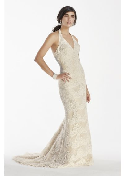 Scallop Beaded Lace Halter V-Neck Trumpet Gown SWG691