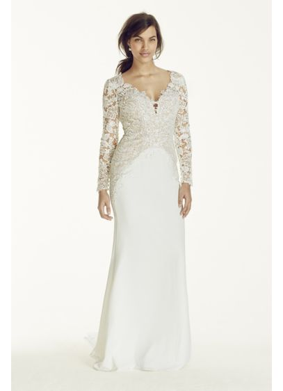 Long sleeve beaded lace plunge neckline gown davids bridal for Long sleeve beaded wedding dress