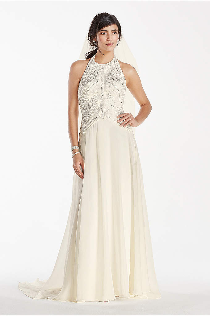 Deco-Inspired Beaded Chiffon Halter Gown - Classic and chic, your guests won't be able